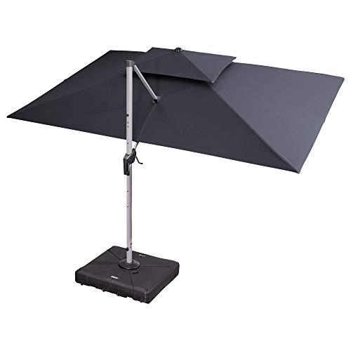 PURPLE LEAF 10' X 13' Double Top Deluxe Rectangle Patio Umbrella Offset Hanging Umbrella, Grey