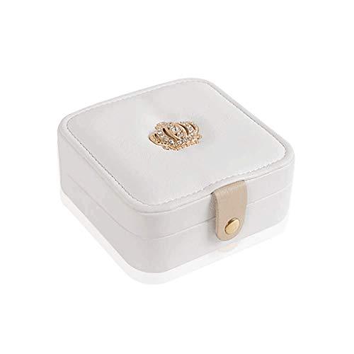 SCDZS Pequeño Organizador de Almacenamiento de exhibición de la Caja de la joyería del Viaje del Cuero del Faux for los Pendientes, Collar, Rosa, Blanco (Color : White)