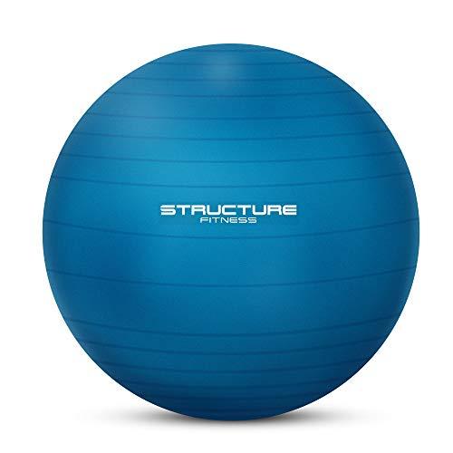 FiNeWaY - Pelota de gimnasia de 75 cm, para ejercicios de yoga, ejercicios de entrenamiento de fuerza, estiramiento, tonificación, ejercicio de resistencia y mucho más. Bomba de mano incluida (azul)