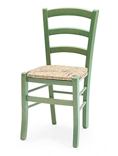 Sedie in Legno massello Colorata con Seduta in Paglia Venezia Set da 2 (Verde)