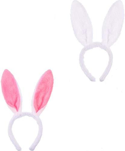 2 piezas orejas de conejo diadema orejas de felpa diadema pelo de conejo diadema tocado para niños niñas carnaval conejito pascua disfraz decoración del partido