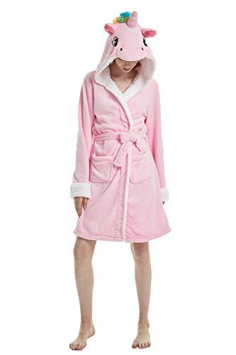 Einhorn Schlafanzug Damen Winter Pyjama Bademantel Flanell Tiere Ankleiden, Einhorn - Rosa, M: (Passend für Höhe 150-165 cm)