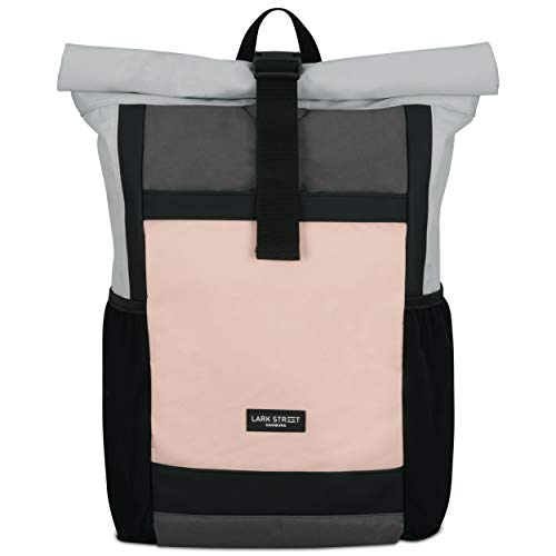 Roll Top Backpack Womens & Mens Grey/Pink - LARK STREET No2 Daypack Made from Recycled PET Bottles - Rucksack for Leisure, College & School - Girls Bookbag Waterproof Bag 15.6 Inch Laptop Compartment