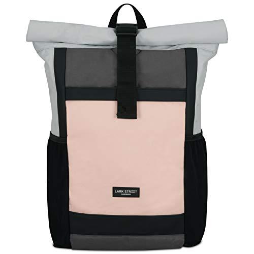 LARK STREET Rucksack Damen & Herren - No 2 - Rolltop Rosa Grau – Recycelt & Wasserabweisend mit Laptopfach