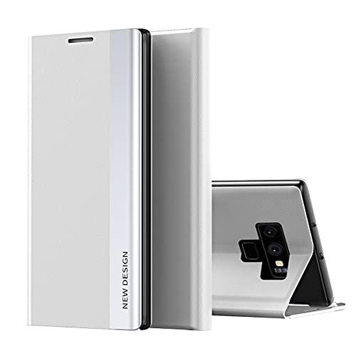 Galaxy Note 9 Funda, Midcas Ultra-Delgado Cierre Magnético Flip Cover Piel sintética Carcasa con Soporte Plegable para Samsung Galaxy Note 9 Blanco
