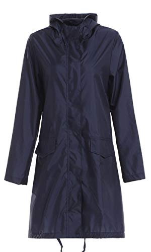 hjkg Impermeable Mujer Navy Fashion Rain Coat Ladies Long Portable Water-Repellent Windbreaker Chaqueta Impermeable Transpirable Ligera Mujeres Hombres Damas Unisex, XXL