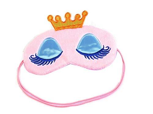 Prinzessinnen-Schlafmaske Augenmaske für Kinder, mit Kronen- und Augenmuster, Rosa