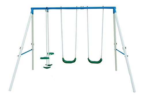 Northern Stone Outdoor Play Steel Frame Garden Swing Set with 2 Swings and Seesaw Glider