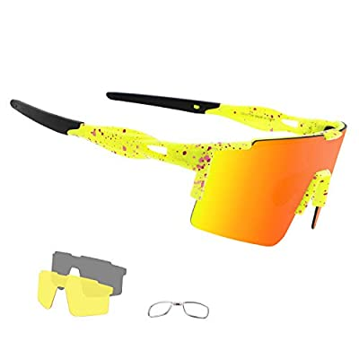 OULAIQI Cycling Sunglasses Polarized Bike Sports Sunglasses for Cycling Men Women with 3 Interchangeable Lens Sports Fishing Golf Baseball Running Glasses