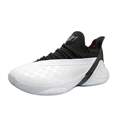 PEAK Mens Basketball Shoes Tony Parker 7 Taichi Adaptive Cushioning Sneakers Non-Slip Sports Shoes for Running, Walking, Fitness (White & Black, Numeric_8)