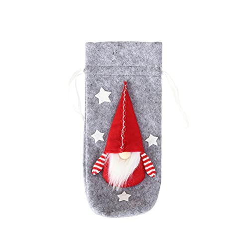 EMFGJ Bolsas para botellas de vino de Navidad, tela no tejida, para envolver botellas de vino, bolsas de regalo de Navidad, fiestas, festivales, color gris