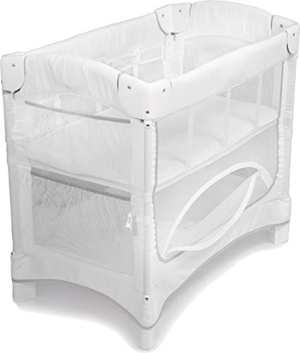 Arm's Reach Mini Ezee 2 in 1 Co-Sleeper Portable Travel Bassinet for Baby, Bedside or Freestanding, with Under Crib Storage, for Newborns and Infants, White
