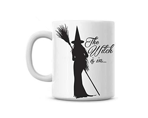 Zachrtroo koffiemok kop De heks is in heksenbezem hoed geschenk aangepaste naam gratis Halloween