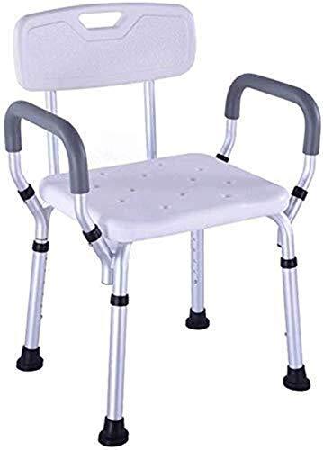 BBWYYQX Sgabello da Doccia Sedia da Bagno Sedile da Bagno, Regolabile in Altezza Indossabile Leggero con Braccioli con Schienale Antiscivolo per Disabili Anziani