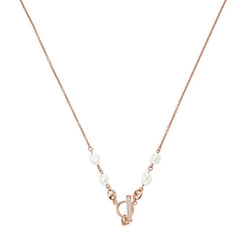 Emporio Armani EG3516221 - Cadena de plata de ley para mujer, color oro rosa
