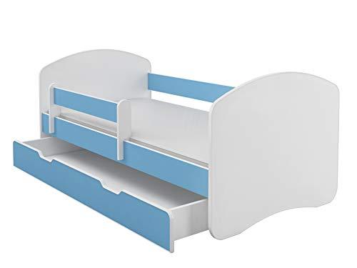 Kinderbett Jugendbett mit einer Schublade und Matratze Weiß ACMA II (180x80 cm + Schublade, Blau)