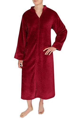 Miss Elaine Robe - Women's Plus Size Jacquard Fleece Long Zipper Robe Burgundy