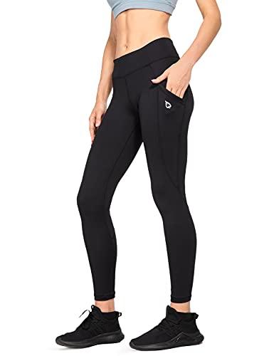 "BALEAF Women's Mid-Waist Yoga Leggings Side Pockets 28"" Workout Running Athletic Pants Black L"