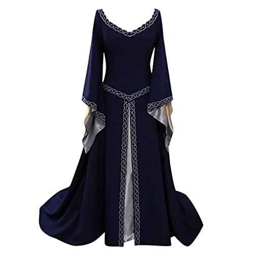 Vestido medieval para mujer, con mangas de trompeta, longitud hasta el suelo, retro, gtico, renacentista, princesa victoriana, vestido de bruja medieval irlands, vestido largo, 1 azul., M