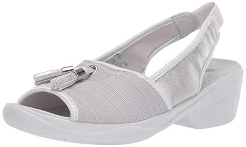 Bzees Women's Mirage Heeled Sandal, Grey Gradient Ribbed Fabric, 10 W US