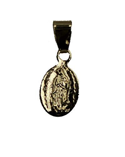 Diamantados of Florida Virgen de Guadalupe - Medalla Ovalada pequeña - Nuestra Señora de Guadalaupe Medalla 18 K Chapado en Oro Oval Colgante con Cadena de 18 Pulgadas