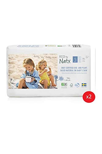 Eco by Naty Premium Disposable Baby Diapers for Sensitive Skin, Size 3, 2 Packs of 50 (100 Diapers) (Chemical, dioxin, Fragrance Free)
