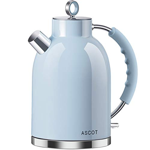 Electric Kettle, ASCOT Stainless Steel Electric Tea Kettle, 1.7QT, 1500W, BPA-Free, Cordless, Automatic Shutoff, Fast Boiling Water Heater - Blue