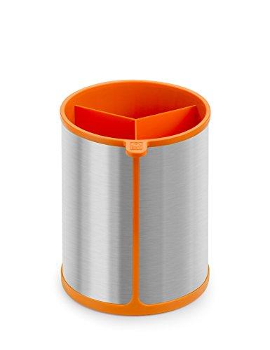 BRA Efficient Bote Giratorio para Utensilios de Cocina, Acero Inoxidable, Naranja, 14.5 x 15 x 18 cm