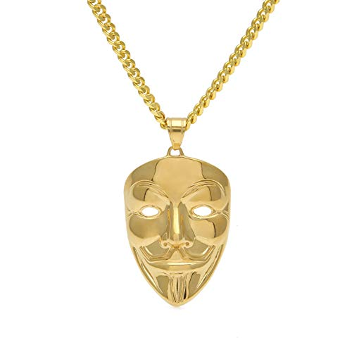 Rap Zubehör Männer Hip Hop vergoldet V-Vendetta Maske Clown Maske Edelstahl europäischen und amerikanischen neuen Anhänger (Gold), Schmuck, Geschenk