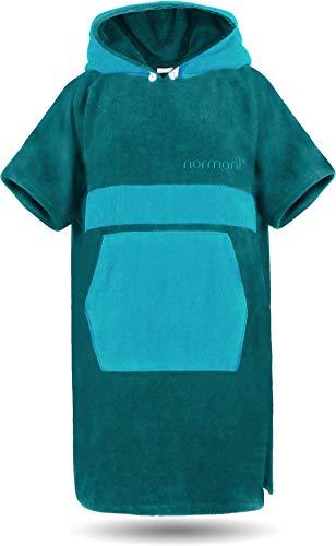 normani Baumwoll Handtuch-Poncho - Unisex Strand Umziehhilfe - geschlossener Bademantel für Damen und Herren Farbe Petrol/Türkis Größe L/XL