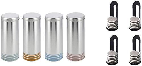 James Premium 4X Kaffeepad-Dose, Dekodose, Verschiedene Dekore, OR XX Aufbewahrungsbehälter für Kaffeepads (4 Stück - Set 2) Aktion + 4 Padheber