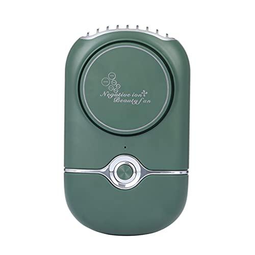 ASFD Ventilador de enfriamiento sin Hojas USB Secador de pestañas de Iones Negativos Recargable portátil Verde 76 * 41 * 139 mm