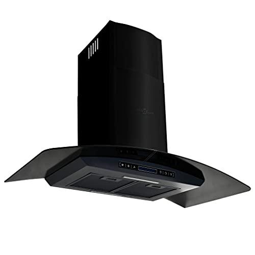 vidaXL Cappa Aspirante a Muro Acciaio Inox 90 cm Nera Filtro Odori Aria Cucina