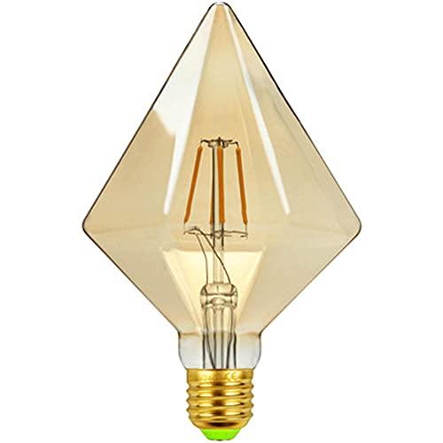 KCBYSS Bombilla LED de filamento de diamante de Harfe, diseño antiguo, forma especial, supermercado, tienda de ropa, retro, dorada, lámpara decorativa, 220 V, 4 W, E27