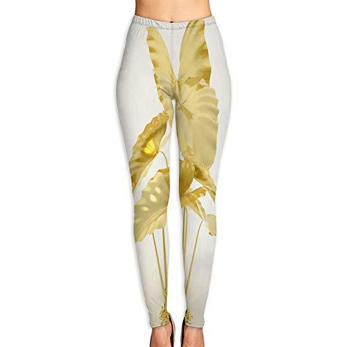 Aerokarbon Yogahosen Damen,3D Wiedergabe Goldener Pflanzen Goldblatt,Hoch taillierte Trainingshose Gedruckte Yoga Stretch Strumpfhose L