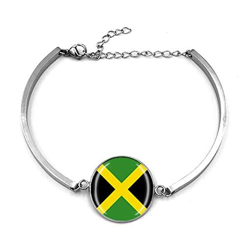 Pulsera de metal de recuerdo de la bandera de Jamaica Pulsera de acero inoxidable para hombre y mujer regalo especial