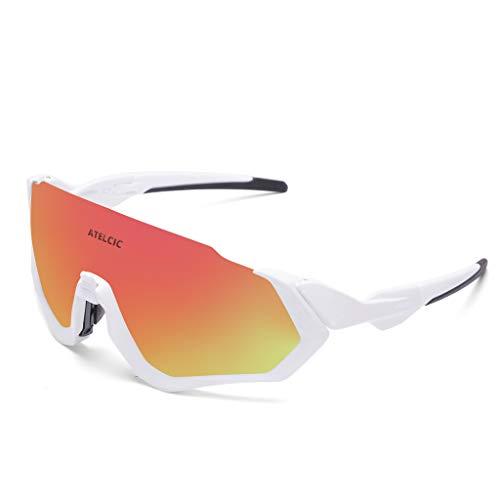 Atelcic Gafas de Sol para Ciclismo, Protección UV400 y Montura De TR-90 Resistentes a Golpes Antivaho para Hombre Mujer MTB Bicicleta Correr Montaña y Carretera
