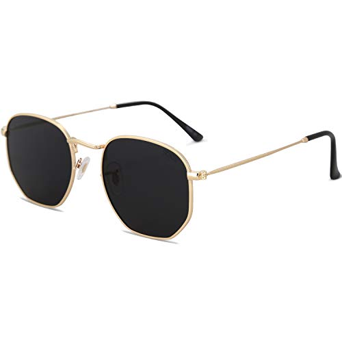 SOJOS Small Square Polarized Sunglasses for Men and Women Polygon Mirrored Lens SJ1072 with Gold Frame/Grey Lens with Gift Box