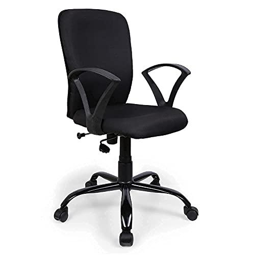 FURNICOM CHAIRS™ Armo Mid Back Ergonomic Office Chair Computer Study Chair Fabric Metal Base (Black)