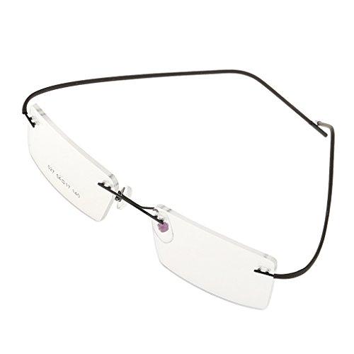 joyMerit Gafas Flexibles Sin Montura con Montura Metálica, Gafas de Lectura, Gafas ópticas, Gafas de Negocios, Montura, Lente Transparente - Negro