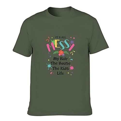 Camiseta de algodón para hombre, diseño con texto en alemán 'Mein Haarhaus Der Kinderlebe' verde militar XXXXXL