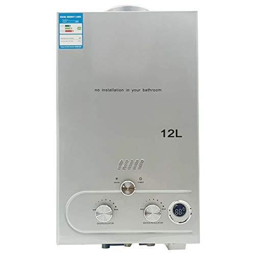 TABODD Calentador de agua de gas propano portátil de 24 kW, 12 L, ducha de camping para ducha, baño, agua caliente, camping, ducha, caldera de agua caliente, caldera de agua caliente, color plateado
