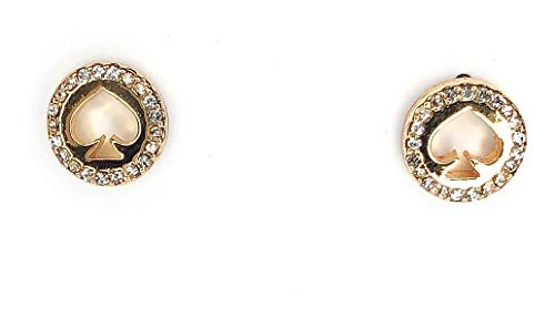 Kate Spade New York Womens Spot The Spade Clear Gold Tone Crystal Pave Stud Earrings Jewelry