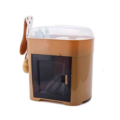 ZWMG escurreplatos con la Tapa del Plato Estante Cocina for Guardar Objetos de Drenaje Rack Rack Inicio Estante del gabinete de plástico escurridor Platos (Color : Brown)