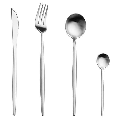 forchetta da portata in acciaio INOX pesante design lucido a specchio Set da 2 cucchiaini da insalata
