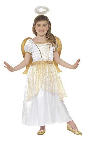 Smiffys-21811M Disfraz de ángel y Dorado, con Vestido, alas pegadas y Aura, Color Blanco y Oro, M-Edad 7-9 años (Smiffy