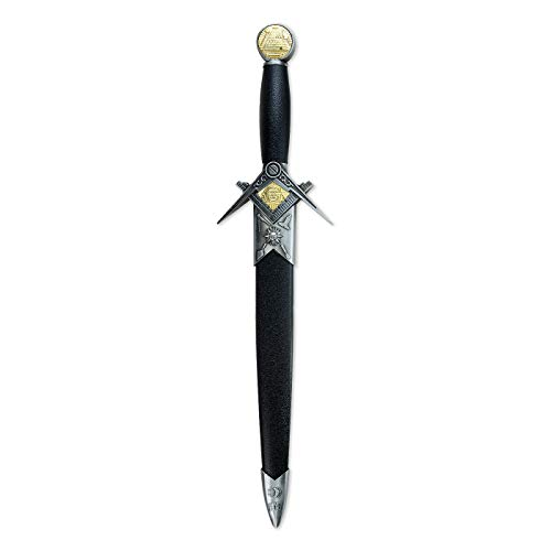 Square & Compass with Working Tools Masonic Short Sword Dagger - [Black & Silver]