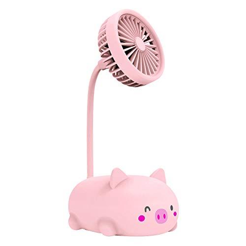 tianxiangjjeu Piggy Bear - Mini ventilador de refrigeración portátil con diseño de dibujos animados con USB, tubo flexible, mesa de oficina para el aire libre, color rosa