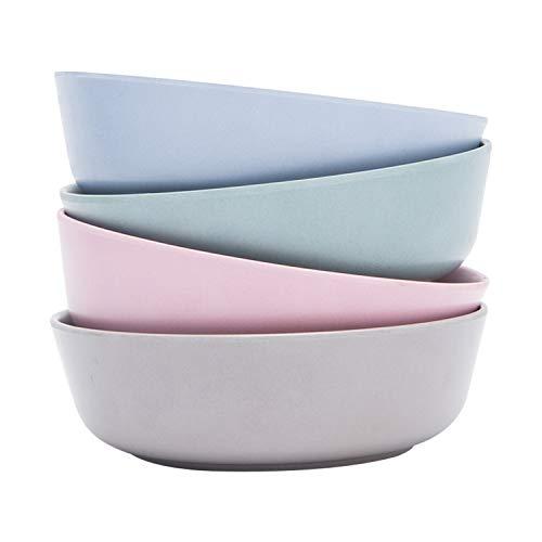 4pcs Bamboo Kids Bowls (20 fl oz) for Baby Feeding, Non Toxic & Safe Toddler Bowls, Eco-Friendly Tableware for Baby Toddler Kids Bamboo Toddler Dishes & Dinnerware Sets (Freshness)