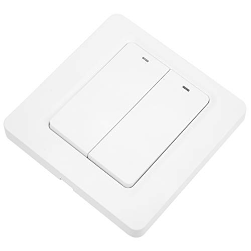 Interruptor WiFi inteligente Funciona con Alexa y Google Home Interruptor táctil inteligente Botón WiFi Control remoto Encendido/Apagado para ventilador de techo de luz 2.4GHZ 100‑240VAC DS-102-2